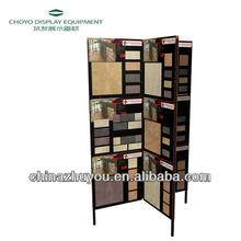 Folding screen movable metal display shelf for ceramic tile sample board