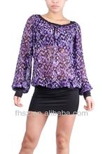 100%polyester lady blouse long sheeve new design blue animal print blouse kurti