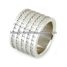 Men's fashion stainless steel rings CZ stones setting in wholesale