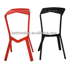 PP Stacking Plastic Chairs For Dinning Room , Red / Black Bar Stool