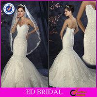 Handmade Mermaid Appliqued Off The Shoulder Wholesale Wedding Dresses New York(ED-W142)