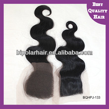Indian Virgin Human Hair Piece Thin Skin Invisible Knots Natural Look Silk Base Top Closure