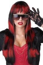 Wholesale Beauty Red Black Streak Hair Color Wig