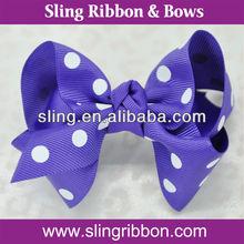 Polk Dots Grosgrain Ribbon Flowers Hair Clip