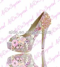 Light Pink Peacock Decoration Bridal Wedding Shoes,12cm High Heel Shoes, Diamond Pumps