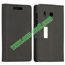 Litchi Texture Flip Stand Leather Soft Mobile Phone Case for Huawei Y320 with Card Slots and Magnetic Buckle