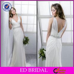 Sexy Crystal Sash V Neck Button Back Beach Casual Wedding Dresses Patterns(ED-W160)