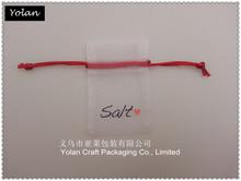 White Organza bag use deep red string printed salts
