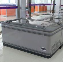 2014 AHT style 500L Double Sliding Glass Door Island Chest Freezer commercial refrigerator curved freezer island freezer