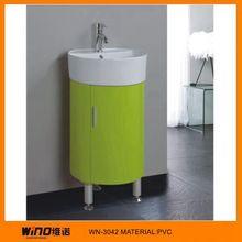Modern European Style Gloss Vanity PVC Bathroom Furniture with Glass Basin