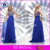 YW062 Sexy Open Back Heavy Beaded Crystals Royal Blue Chiffon Turkish Evening Dresses