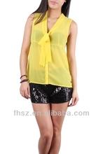 Latest fashionable ladies sleeveless yellow blouse top fashion design kurta designs for girl 2014