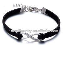 Fashion Silver Tone INFINITY Faux leather bracelet Suede Cord Friendship Love Wish Thong Bracelet