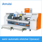 Semi-automatic carton closing and stitching machine for corrugated paper box