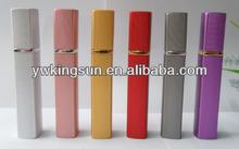 Wholesale 6 color 12ml Stripe long square spray aluminium perfume bottle for women travel mini size