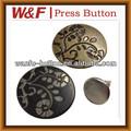Laiton bouton métallique avec l'alphabet dans un style de fantaisie, boutons à queue