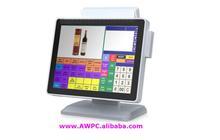 AWPC Intel Atom N330 DDR2 667MHz 2GB 320GB 5wire resistive1024*768 Touch screen Customer Display windows pos terminal