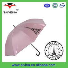 Eiffel tower topic silk screen bright colored UV protection umbrella curved handle golf umbrella
