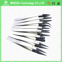 Factory Price 8pcs/set ESD Series Exchanged tip Anti-static Stainless Tweezers / ESD Replacement Head Stianless Steel Tweezers