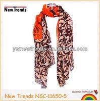 Dainty orange & yellow rose flora print scarf