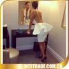 2014 new sexy white short backless cocktail dresses bandage peplum