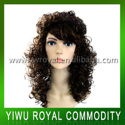 Fashion Synthetic Brown Long Curly Party Plastic Wigs