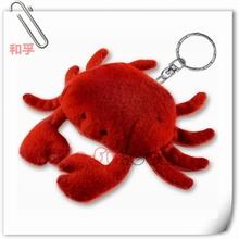 Custom Hot Sale Red Crab Keychain Of Soft Plush Stuffed Sea Animal Toy