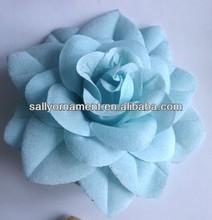Custom made azul tecido flores para vestidos de casamento
