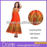 2014 New Fashion Wrap Plus Size Summer Dress Printed Long Swing Dress