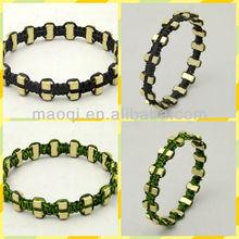 fashion imitation jewelry jewellery braided crods with shinny metal dot fence bracelet bangle