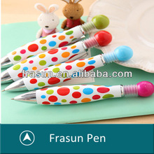 Fashion Push Ball Top Elegant Dot Pattern Fat Plastic Mini Ball Pen