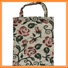 Polyester/cotton vintage flower gobelin recyclable foldable shopping bags
