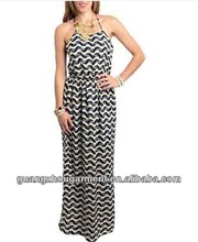 2014 European stripe rainbow long dress sleeveless ladies dress for evening shopping daily wear OEM manufacture in china
