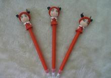 2014 wholesale cute novelty design pretty cartoon cattle girl shape ball pen 0.5mm
