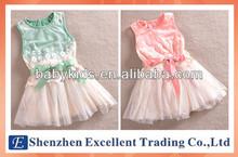 2014 fashion summer lace girl dress/Sleeveless casual girls party dress