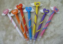 2014 wholesale cute novelty design pretty wings of heart shape ball pen 0.5mm