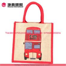 London bus jute bag gift jute bag jute shopping bag customized