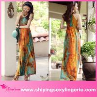Hot Sale Wholesale Classic Braided Neck batik maxi dress