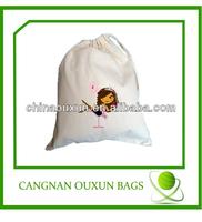Custom Printed Promotional Canvas Cotton Drawstring Bag