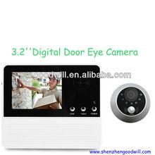 Smart 3.2 inch door peephole viewer with doorbell and good night vision GW601D-2AH