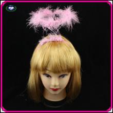 2014 New design angel headband kids pink plastic feather angel headband