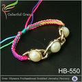2014 vendita calda maglia cera colorata braccialetto di perle con catena economici