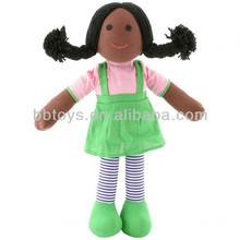 Venta al por mayor 2014 negro muñecas de trapo, juguetes de peluche personalizados