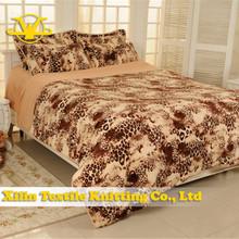 Leopard design 100% cotton plush 4 bed set