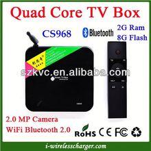CS968 Mini pc Android 4.2 2GB RAM 8GB TV box Android RK3188 Quad-core Smart TV box+ Camera 2.0MP + Bluetooth 4.0+ Remote Control