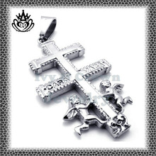 2014 lasted trendy popular stainless steel STP225 sacred Jesus and angels cross pendant jewelry for men