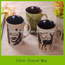 17.5oz custom logo hand painted ceramic coffee mugs and cups animal design for kids