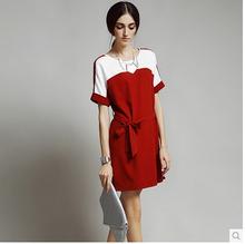 Mode été chine fournisseur femmes blanc dessous du genou robe
