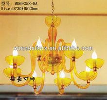 Multiple light yellow acrylic chandelier, cheap chandelier acrylic hot