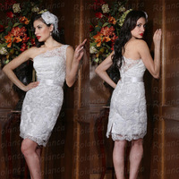 2014 new designer lace one-shoulder tight sexy short wedding dresses CXC1687